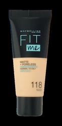 Maybelline Jade New York Fit me! Matte+Poreless mattierendes Make-up 118 Light Beige podkład matujący nr 118 jasny beż