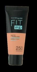 Maybelline Jade New York Fit me! Matte+Poreless mattierendes Make-up 250 Sun Beige podkład matujący nr 250 słoneczny beż