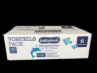 babylove Feuchttücher mit 99 % Wasser 6 x 80 Szt, 480 szt. chusteczki nawilżające dla dzieci 99% woda