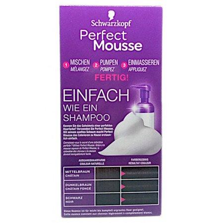 Schwarzkopf Perfect Mousse  Permanente Schaumcoloration Schwarzk farba czerń nr 200
